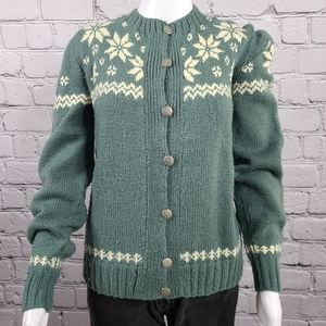 Vintage Green Hand Knitted Cardigam Sweater, Small